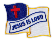 Motorcycle Jacket Embroidered Patch - Christian Flag, Jesus is Lord (Waving) - Vest, Cut, Leathers - 7cm x 5.7cm