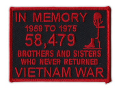 Motorcycle Jacket Embroidered Patch - Vietnam Memorial Patch (Black, Red) - Vest, Cut, Leathers - 10cm x 7.6cm