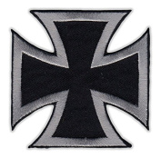 Motorcycle Jacket Embroidered Patch - Maltese Cross (Black, Silver) - Vest, Cut, Leathers - 7.6cm x 7.6cm