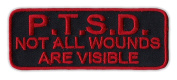 Motorcycle Jacket Embroidered Patch - PTSD Not All Wounds Are Visible - Vest, Cut, Leathers - 10cm x 3.8cm