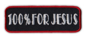 Motorcycle Jacket Embroidered Patch - 100% For Jesus, Born Again, Religion (Red) - Vest, Cut, Leathers - 7.6cm x 2.5cm