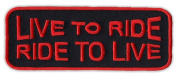 Motorcycle Jacket Embroidered Patch - Live To Ride, Ride To Live (Orange) - Vest, Cut, Leathers - 10cm x 3.8cm