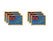 PACK of 6 Tuvalu Flag Patches 8.9cm x 5.7cm , Tuvaluan Embroidered Iron On or Sew On Flag Patch Emblem