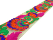 5.59 cm Wide Pattern Floral Embroidered Net Fabric Lace Trim Craft By The Yard