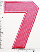 Pink Number 7 Patch Number seven counting logo Letter school symbol counting logo jacket T-Shirt patch iron on patch