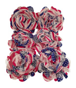 Chiffon Fabric Flowers - Red White and Blue - Patriotic 4th of July Lace Flowers for Headbands, Decorations, or Crafts