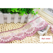 15 Yard Red violet Floral Lace Ribbon Roll Scallop Edge Embroidered Mesh Lace Trim DIY Craft 6.1cm W