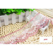 15 Yard Pink Floral Lace Ribbon Roll Scallop Edge Embroidered Mesh Lace Trim DIY Craft 6.1cm W