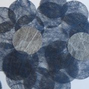 Round Sequin 40mm Navy Blue Silky Fibre Strand Fabric Couture Paillettes