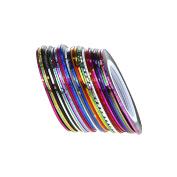Qingsun 32 Colours Nail Art Rolls Striping Tape Nail Sticker Strips Tape Wire Art Tips Line