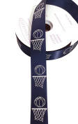 ACI PARTY AND SPIRIT ACCESSORIES Basketball Hoops Imprint Ribbon with Metallic Silver Print, 100 yd., 9 Ribbon, Navy Blue