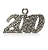 Year 2010 Silver Drop Date Signet for Graduation Tassel