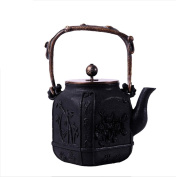 Japan Cast Iron Teapot Handicraft Non-Coated Oxidation Treatment Inner Wall Plum Orchid Bamboo Chrysanthemum Pattern Boiled Water Tea 1.4L