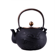 Japan Cast Iron Teapot Handicraft Non-Coated Oxidation Treatment Of Inner Wall Loose Crane Pattern Boiled Water Tea 1.4L