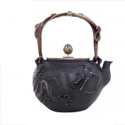 Japan Cast Iron Teapot Handicraft Non-Coated Oxidation Treatment Inner Wall Proud Dragon Pattern Boiled Water Brewing 1.4L