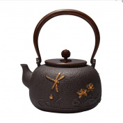 Japan Cast Iron Teapot Handicraft Non-Coated Oxidation Treatment Inner Wall Dragonfly Play Pattern Boiled Water Tea 1.4L