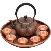 Copper Teapot Suit Handicraft Pure Copper Material Hand Thickened Kitchen Utensils Carved Water Boil Tea 1.35L