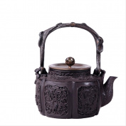 Japan Cast Iron Teapot Handicraft Non-Coated Oxidation Treatment Inner Wall Fengqi Indus Pattern Water Boil Tea 1.2L