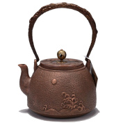 Japanese copper teapot Handicraft pure copper material non-coated home decoration bright future pattern boiling water Tea 1.2L