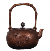 Japanese Copper Teapot Handicraft Pure Copper Material Non-Coated Home Decoration Everything Ruyi Pattern Boiling Water Tea 1.2L