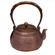 Japanese Copper Teapot Handicraft Pure Copper Material Non-Coated Home Decorative Water Ripple Boil Tea 1.2L