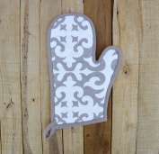 Christmas glove, quilted oven mitt, moroccan print, grey colour, kitchen accessory, 100% cotton size 20cm x 33cm
