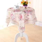 LD & P Lace edge Linen tablecloth rectangular kitchen dining table outdoor picnic camping Multi-size,Pink,150*150cm