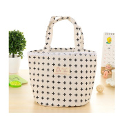 Saint Kaiko Cotton Linen Round Thermal Lunch Bag Reusable Insulated Lunch Bag Cooler Bag Picnic Bag Tote Lunch Bag Food Storage Bag