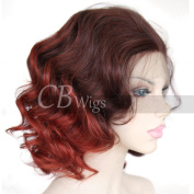 Cbwigs New Fashion Ombre Red Short Bob Wavy Synthetic Lace Front Wigs Heat Resistant Realistic Looking 2 Tone Big Wave Wig for White Women 36cm PT4/350