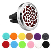 JOVIVI 30mm Car Air Freshener Aromatherapy Essential Oil Diffuser - Stainless Steel Locket with Vent Clips,12 Refill Pads