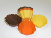 Baking Essentials Harvest Coloured Flower Silicone Cupcake Baking Moulds Holder