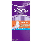 Always Dailies Individually Wrapped Normal Singles Pantyliners, Pack of 6