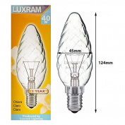 LUXRAM 40W SES/E14 C45 TWISTED CLEAR LARGE CANDLE