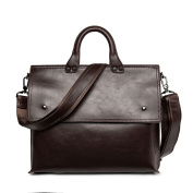 ANNE Men's Vintage Leather Men's Coffee Briefcase Laptop Bag Messenger Handbag