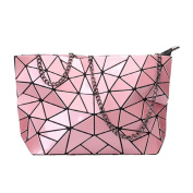 Meliya Womens Holographic Pu Leather Geometric Plaid Metal Chain Shoulder Bag Clutch Handbag Purse, Pink