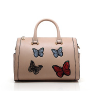 Butterfly Embroidery Cross Body Bag for Women Quality Faux Leather Shoulder Bags Beige Handbags