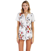 Bluester Women Vintage Boho Criss-Cross Floral Printed Mini Playsuit, Causal Backless Jumpsuit