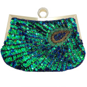Awise Women's Fashion Vintage Clutch Teal Peacock Unusual Antique Retro Exquisite Peacock Pattern Beaded Sequin Evening Party Wedding Handbag Sunburst Navy and Turquoise Eye Catching Purse