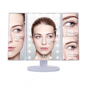 DELIPOP 21 LED Lighted Makeup Mirror, 1X/2X/3X Magnifying Vanity Mirror with 180 Degree Rotation, Dimmable LED Touch Screen Makeup Mirror for Countertop, Dressing Table And Mother's Day Gift
