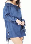 Women Off Shoulder Mini Dress Bardot Button Frill Swing Shirt Long Cuffed Tops