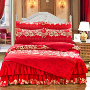 Spring And Autumn Cute Bed Skirt Kit Princess Wedding Bedding,Wealthyflowers-1.5