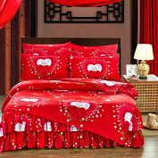 Spring And Autumn Cute Bed Skirt Kit Princess Wedding Bedding,Loveforever-1.5