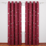 Deconovo Star Foil Thermal Insulated Ready Made Eyelet Blackout Curtains for Bedroom with Two Matching Tie Backs 140x245cm Two Panels Red