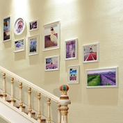 NAUY- Set Of 11 Stairs Photo Wall Simple Modern Frame Wall Solid Wood Creative Wall Frame Combination Photo Wall