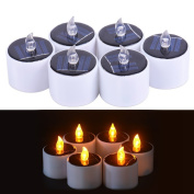 THKJW 6 Pieces Romantic LED Flameless Candles Lights,Solar Power LED Tea Lamps Candles,Solar Candles Outdoors Party Valentine 's Day Thanksgiving Decoration,Yellow Flicker Tealight Candles