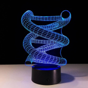 ZQQ 3D Illusion Night Light LED Acrylic DNA Spiral Model for Kids Room 7 Colour Changing , touch