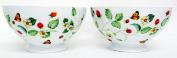 Strawberries & Butterflies Bowls Set of 2 Large Round Footed Bowls Hand Decorated in the UK