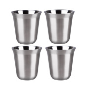 IMEEA® 5.8oz/170ml Brushed 18/10 Stainless Steel Double Wall Cups Mugs for Vodka Whiskey Coffee Tea Drinks