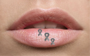Grey Silver Ribbon Awareness Lip Tattoo Temporary lip. Ideal for parties, festivals, nights out. Can be used on any part of your face or body. Easy to use complete with instructions