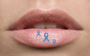 Blue Ribbon Awareness Lip Tattoo Temporary lip. Ideal for parties, festivals, nights out. Can be used on any part of your face or body. Easy to use complete with instructions